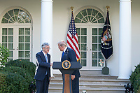 President of the United States Donald J. Trump shakes hands with his nominee for United States Federal Reserve Chairman Jerome Powell in the Rose Garden at the White House in Washington, D.C. on November 2nd, 2017. Credit: Alex Edelman / CNP /MediaPunch