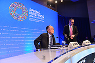 Washington, DC - April 19, 2018: World Bank Group President Jim Yong Kim, seated, holds a press briefing during the Spring Meetings of the International Monetary Fund/World Bank Group in Washington, DC April 19, 2018.  (Photo by Don Baxter/Media Images International)