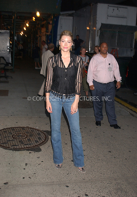 WWW.ACEPIXS.COM . . . . . ....NEW YORK, JULY 18, 2005....Jessica Biel arrives for an appearance on The Late Show with David Letterman.....Please byline: KRISTIN CALLAHAN - ACE PICTURES.. . . . . . ..Ace Pictures, Inc:  ..Craig Ashby (212) 243-8787..e-mail: picturedesk@acepixs.com..web: http://www.acepixs.com
