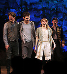 Rick Holmes, Adam Chandler-Berat, Celia Keenan-Bolger, Christian Borle, .during the Broadway Opening Night Performance Curtain Call for 'Peter And The Starcatcher' at the Brooks Atkinson Theatre on 4/15/2012 in New York City.