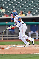 Tennessee Smokies first baseman Gioskar Amaya (19) swings at a pitch during a game against the Jackson Generals at Smokies Stadium on July 5, 2016 in Kodak, Tennessee. The Generals defeated the Smokies 6-4. (Tony Farlow/Four Seam Images)