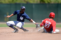New York Yankees second baseman Angelo Gumbs #21 attempts to tag Dylan Cozens #27 sliding in during a minor league Spring Training game against the Philadelphia Phillies at Carpenter Complex on March 21, 2013 in Clearwater, Florida.  (Mike Janes/Four Seam Images)