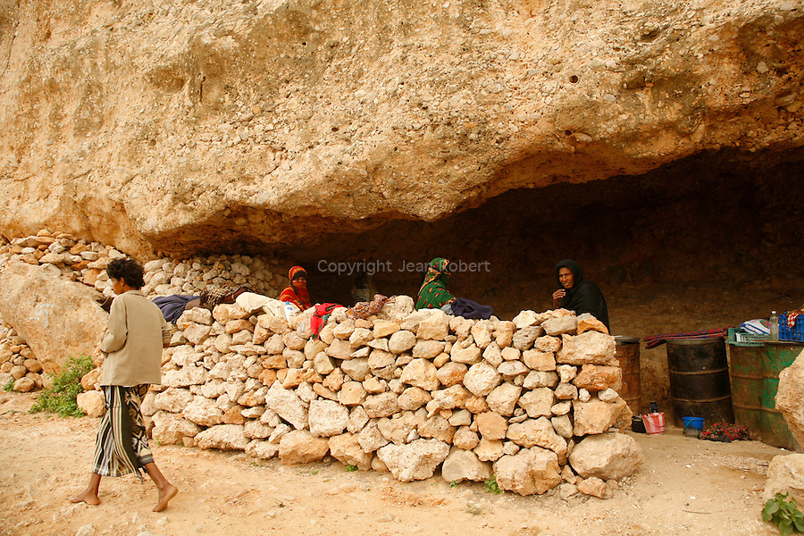 .Family living in a cave. Socotra Yemen