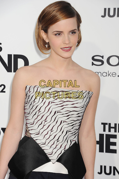 Emma Watson<br /> 'This is the End' Los Angeles film premiere at the Regency Village Theatre, Westwood, California, USA.<br /> 3rd June 2013<br /> half length black white pattern strapless top peplum   <br /> CAP/ROT/TM<br /> &copy;Tony Michaels/Roth Stock/Capital Pictures