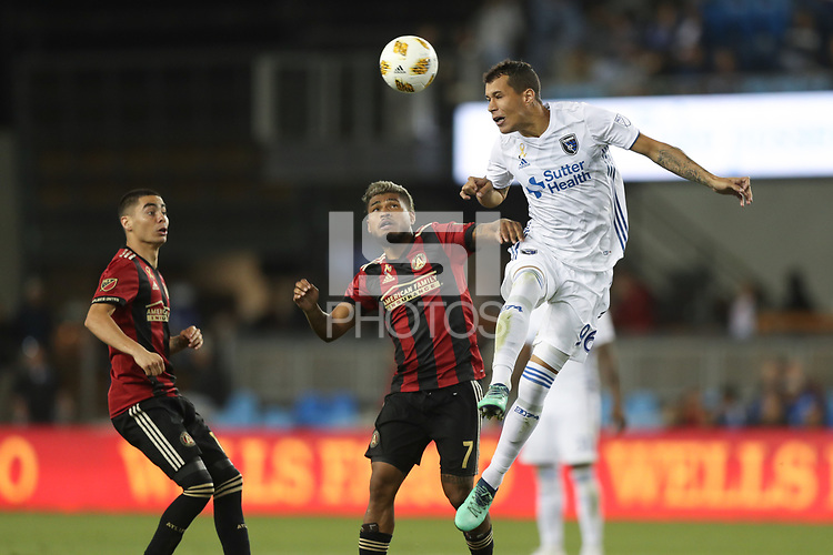 San Jose, CA - Wednesday September 19, 2018: Josef Martinez, Luis Felipe during a Major League Soccer (MLS) match between the San Jose Earthquakes and Atlanta United FC at Avaya Stadium.