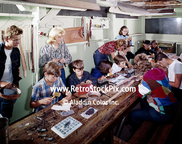 Parents and aids helping kids in arts & crafts class at the Victor Van's Hideaway Ranch / Shadow Mountain in East Jewett, New York
