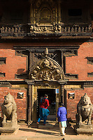 "The Golden Window or ""Golden Gate"" as it is usually called is the main entrance to the Palace and Patan Museum. It is a masterpiece of repousse art. Inside the old palace, the Patan Museum has one of the world's best collections of Nepali art."
