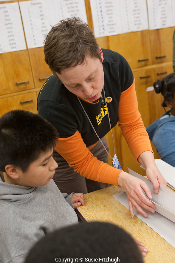 Lauren Atkinson works with 4th-graders at Northgate Elementary School.