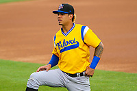 Biloxi Shuckers third baseman Angel Ortega (2) during a Southern League game against the Tennessee Smokies on May 25, 2017 at Smokies Stadium in Kodak, Tennessee.  Tennessee defeated Biloxi 10-4. (Brad Krause/Krause Sports Photography)