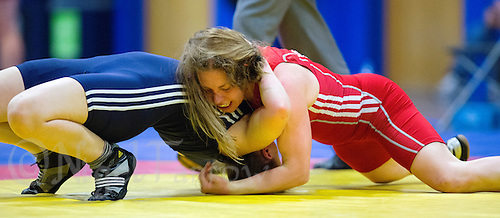 11 MAY 2014 - SHEFFIELD, GBR - Louisa Salmon (top, in red) attempts to pin an opponent during the British 2014 Senior Wrestling Championships in EIS in Sheffield, Great Britain (PHOTO COPYRIGHT © 2014 NIGEL FARROW, ALL RIGHTS RESERVED)