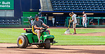 HARTFORD, CT-062520JS17—The ground crew at Dunkin Donuts Park in Hartford, gets ready for another game in the Connecticut Twilight League Thursday at Dunkin Donuts Park in Hartford. <br /> Jim Shannon Republican-American