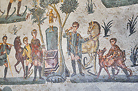 Close up detail picture of the Roman mosaics of the small hunt depicting offerings being made at an altar, room no 24 at the Villa Romana del Casale, first quarter of the 4th century AD. Sicily, Italy. A UNESCO World Heritage Site.<br /> <br /> The Small Hunt room was used as a living room for guests of the Villa Romana del Casale. The Small hunt mosaic design has 4 registers running across the mosaic depicting hunting scenes. In the first register two servants are handling hunting dogs. In the second register figures are depicted burning incense at an altar to Diana, the goddess of hunting, before the hunt starts. The offering is being made by Constantius Clorus , the Caesar of Emperor Maximianus who owned the Villa Romana del Casale. Behind him is his son the future Emperor Constantine. To the right of the altar is a figure holding the reins of a horse dressed in a clavi decorated with ivy leaves indicating that he belongs to the family of Maximianus.
