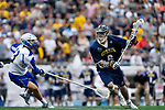 FOXBORO, MA - MAY 28: Charlie Bertrand #6 of the Merrimack Warriors during the Division II Men's Lacrosse Championship held at Gillette Stadium on May 28, 2017 in Foxboro, Massachusetts. (Photo by Larry French/NCAA Photos via Getty Images)