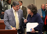 Nevada Assemblyman James Oscarson, R-Pahrump, talks with Legislative Counsel Brenda Erdoes on the Assembly floor at the Legislative Building in Carson City, Nev., on Thursday, May 21, 2015. <br /> Photo by Cathleen Allison