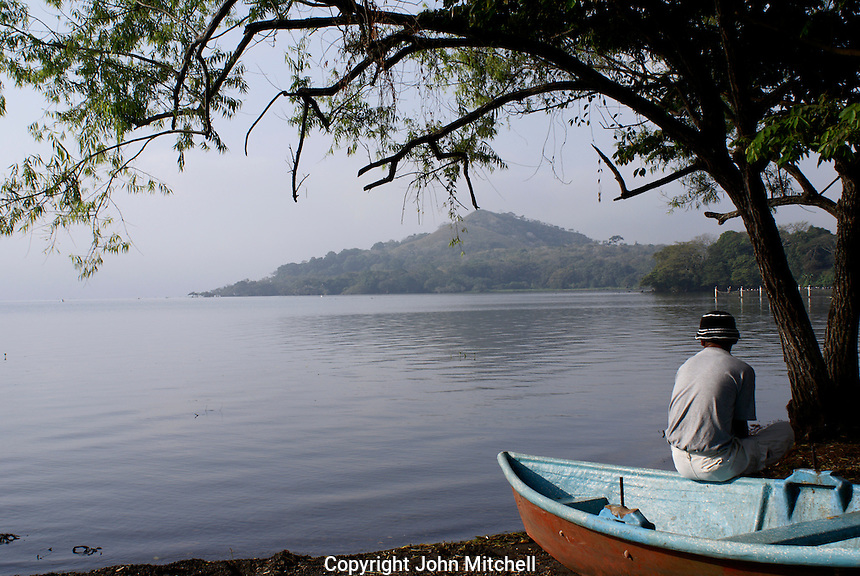 Fisherman contemplating Lake Catemaco in Veracruz state, Mexico
