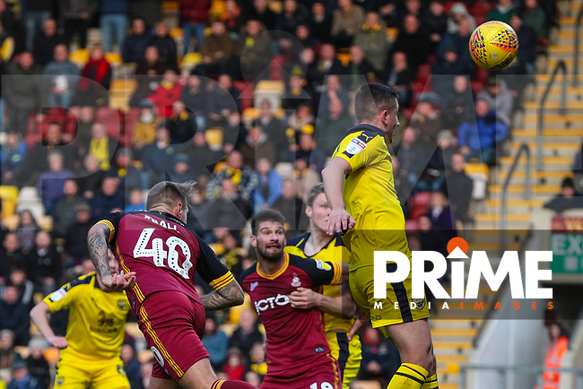 David Ball of Bradford City scores with a header during the Sky Bet League 1 match between Bradford City and Oxford United at the Northern Commercial Stadium, Bradford, England on 24 November 2018. Photo by Thomas Gadd.