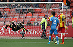 Partick keeper Tomas Cerny beaten by Scott Wright's long range shot for Aberdeen's third goal