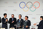 (L to R) <br />  Shinzo Abe, <br />  Jacques Rogge, <br /> Tsunekazu Takeda, <br />  Naoki Inose, <br /> SEPTEMBER 7, 2013 : <br /> A press conference after Tokyo was announced as the winning city bid for the 2020 Summer Olympic Games at the 125th International Olympic Committee (IOC) session in Buenos Aires Argentina, on Saturday September 7, 2013. (Photo by YUTAKA/AFLO SPORT)