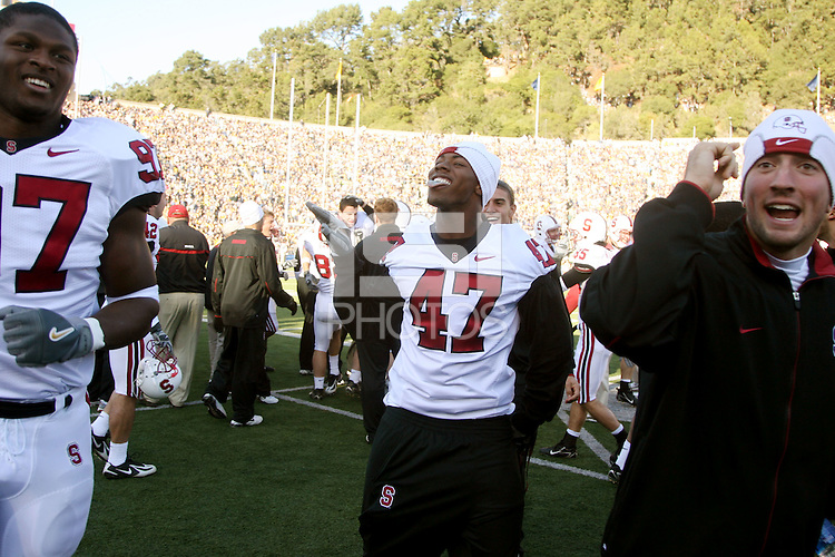 2 December 2006: Emmanuel Awofadeju, Jerome Jackson and Tyler Porras celebrate after a touchdown during Stanford's 26-17 loss to Cal in the 109th Big Game at Memorial Stadium in Berkeley, CA.