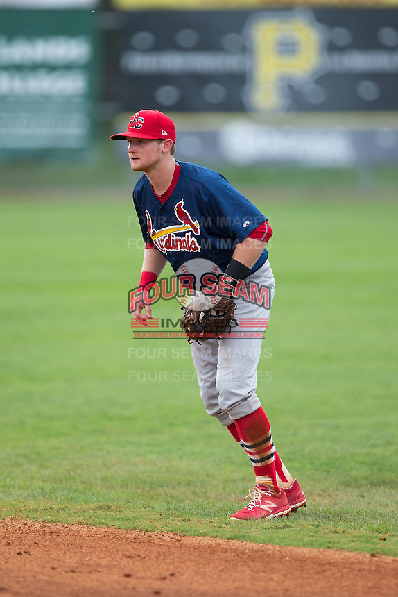 Johnson City Cardinals second baseman Luke Doyle (18) on defense against the Bristol Pirates at Boyce Cox Field on July 7, 2015 in Bristol, Virginia.  The Cardinals defeated the Pirates 4-1 in game one of a double-header. (Brian Westerholt/Four Seam Images)