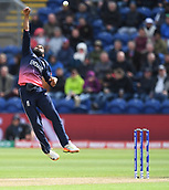Jun 6th, The SSE SWALEC, Cardiff, Wales; ICC Champions Trophy; England versus New Zealand; Adil Rashid of England jumps for a catch