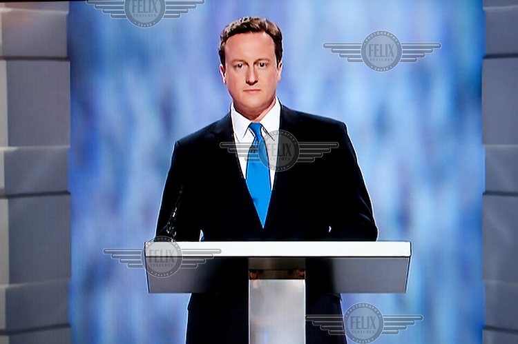 A screen grab of David Cameron, the Conservative Party leader, during the UK's first ever party leaders' general election TV debate held in Manchester. .