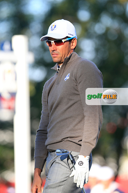 Rafa Cabrera-Bello (ESP) Team Europe tees off the 4th tee during Saturday Morning Foursomes Matches of the 41st Ryder Cup, held at Hazeltine National Golf Club, Chaska, Minnesota, USA. 1st October 2016.<br /> Picture: Eoin Clarke | Golffile<br /> <br /> <br /> All photos usage must carry mandatory copyright credit (&copy; Golffile | Eoin Clarke)