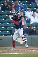 Santiago Espinal (5) of the Salem Red Sox at bat against the Winston-Salem Dash at BB&T Ballpark on April 21, 2018 in Winston-Salem, North Carolina.  The Dash walked-off the Red Sox 4-3.  (Brian Westerholt/Four Seam Images)