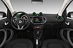 Stock photo of straight dashboard view of a 2018 Smart fortwo Greenflash 3 Door Hatchback