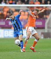 Blackpool's Nick Anderton vies for possession with Gillingham's Mark Byrne<br /> <br /> Photographer Kevin Barnes/CameraSport<br /> <br /> The EFL Sky Bet League One - Blackpool v Gillingham - Saturday 4th May 2019 - Bloomfield Road - Blackpool<br /> <br /> World Copyright © 2019 CameraSport. All rights reserved. 43 Linden Ave. Countesthorpe. Leicester. England. LE8 5PG - Tel: +44 (0) 116 277 4147 - admin@camerasport.com - www.camerasport.com