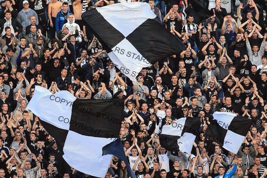 Fudbal Jelen super league season 2013-2014<br /> Partizan v Crvena Zvezda<br /> Grobari navijaci zastave flags fans supporters<br /> Beograd, 04.26.2014.<br /> foto: Srdjan Stevanovic/Starsportphoto&copy;
