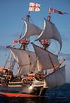 Golden Hind, Sir Francis Drake's replica sailing ship, classic exploration, adventure symbol