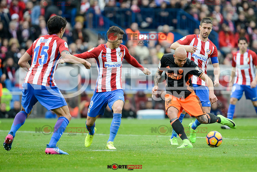 "Atletico de Madrid's Stefan Savic, Lucas Hernández and Gabriel ""Gabi"" Fernández and Valencia CF's Simone Zaza during La Liga match between Atletico de Madrid and Valencia CF at Vicente Calderon Stadium  in Madrid, Spain. March 05, 2017. (ALTERPHOTOS/BorjaB.Hojas) /NortePhoto.com"