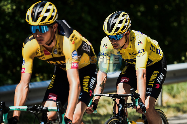 The peloton led by Team Jumbo-Visma with race leader Primoz Roglic (SLO) during Stage 3 of Criterium du Dauphine 2020, running 157km from Corenc to Saint-Martin-de-Belleville, France. 14th August 2020.<br /> Picture: ASO/Alex Broadway | Cyclefile<br /> All photos usage must carry mandatory copyright credit (© Cyclefile | ASO/Alex Broadway)