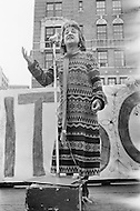 August 1971, Manhattan, New York City, New York State, USA. Betty Friedan Speaking at Political Rally in New York. Image by © JP Laffont