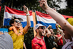 Dutch fans party at the roadside during Stage 1 of the 2019 Tour de France running 194.5km from Brussels to Brussels, Belgium. 6th July 2019.<br /> Picture: ASO/Pauline Ballet | Cyclefile<br /> All photos usage must carry mandatory copyright credit (© Cyclefile | ASO/Pauline Ballet)