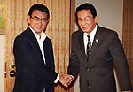 July 23, 2018, Tokyo, Japan - Japanese actor Ryotaro Sugi (R) shakes hands with Foreign Minister Taro Kono as he is appointed to the special goodwill ambassador to Vietnam and ASEAN at Kono's office in Tokyo on Monday, July 23, 2018. Sugi will promote the second Japan-ASEAN musical festival in Tokyo in October ro celebrate the 45th anniversary of friendship between Japan and ASEAN.      (Photo by Yoshio Tsunoda/AFLO) LWX -ytd-
