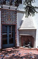 The Adamson House, designed by a well-known architect, Stiles Clements, was constructed beginning in 1929. Situated near the Malibu Pier between popular Surfrider Beach and the Malibu Lagoon, the house boasts an exotic mix of Spanish and Moorish influences.It is now the Malibu Lagoon Museum.Beautiful time and outdoor fireplace. Photo-July 1989