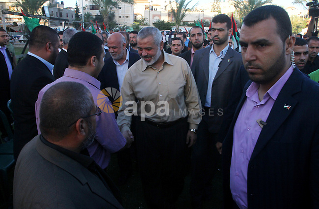 Palestinian prime minister in Gaza Strip, Ismail Haniya visits the tent erected to welcome Palestinian prisoners released in exchange for the captured Israeli soldier Gilad Schalit in Gaza City, Wednesday, Oct. 19, 2011. Photo by Ashraf Amra