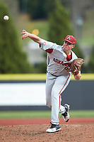 Arkansas Razorbacks relief pitcher Jackson Rutledge (99) delivers a pitch to the plate against the Charlotte 49ers at Hayes Stadium on March 21, 2018 in Charlotte, North Carolina.  The 49ers defeated the Razorbacks 6-3.  (Brian Westerholt/Four Seam Images)
