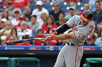 PHILADELPHIA - JUNE 18: Chris Davis #19 of the Baltimore Orioles swings and breaks his bat in the sixth inning during a game against the Philadelphia Phillies at Citizens Bank Park on June 18, 2015 in Philadelphia, Pennsylvania. (Photo by Hunter Martin/Getty Images) *** Local Caption *** Chris Davis