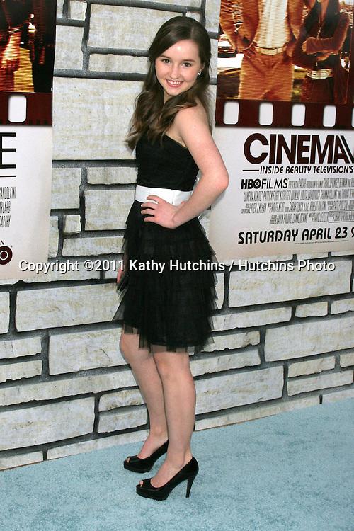 "LOS ANGELES - APR 11:  Kaitlyn Dever arriving at the HBO Films' ""Cinema Verite"" Los Angeles Premiere at Paramount Studios on April 11, 2011 in Los Angeles, CA"