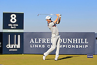Michael Hoey (NIR) on the 8th tee during Round 1 of the 2015 Alfred Dunhill Links Championship at Kingsbarns in Scotland on 1/10/15.<br /> Picture: Thos Caffrey | Golffile