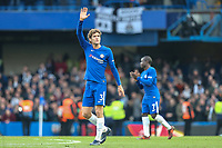 Marcos Alonso of Chelsea waves to the home supporters after the Premier League match between Chelsea and Newcastle United at Stamford Bridge, London, England on 2 December 2017. Photo by David Horn.