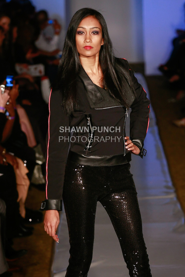 Model walks runway in an outfit from the Katerina Lankova, Stee-Letas TM collection, by Katerina Lankova, during Plitzs Fashion Week New York Fall 2012.