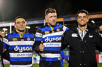 Rhys Priestland of Bath Rugby speaks to his team-mates in a post-match huddle. Aviva Premiership match, between Bath Rugby and Northampton Saints on February 10, 2017 at the Recreation Ground in Bath, England. Photo by: Patrick Khachfe / Onside Images