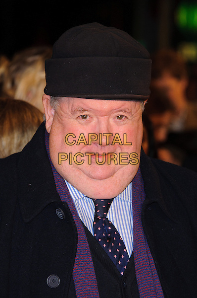 Ian McNeice.The 'Nativity 2: Danger In The Manger' world film premiere, Empire cinema, Leicester Square, London, England..November 13th, 2012.headshot portrait black hat blue shirt purple scarf .CAP/CJ.©Chris Joseph/Capital Pictures.