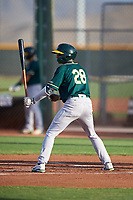 AZL Athletics Green Brayan Buelvas (28) at bat during an Arizona League game against the AZL Reds on July 21, 2019 at the Cincinnati Reds Spring Training Complex in Goodyear, Arizona. The AZL Reds defeated the AZL Athletics Green 8-6. (Zachary Lucy/Four Seam Images)