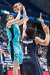 Movistar Estudiantes Edgar Viñedo and Donar Groningen Sean Cunningham during Basketball Champions League match between Movistar Estudiantes and Donar Groningen at Wizink Center in Madrid, Spain October 02, 2017. (ALTERPHOTOS/Borja B.Hojas)
