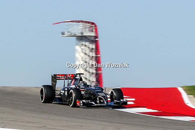 ADRIAN SUTIL (99) driver of the Sauber F1 Team car in action  during the last practice before the Formula 1 United States Grand Prix race at the Circuit of the Americas race track in Austin,Texas.